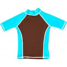 Brown Turquoise  UV Short Sleeve Swim Shirt